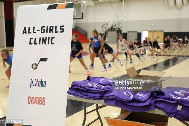 Girls warm up at an all girls basketball clinic hosted by Grayson Allen and Raul Neto of the Utah Jazz at West High School on October 12 2018 in Salt...