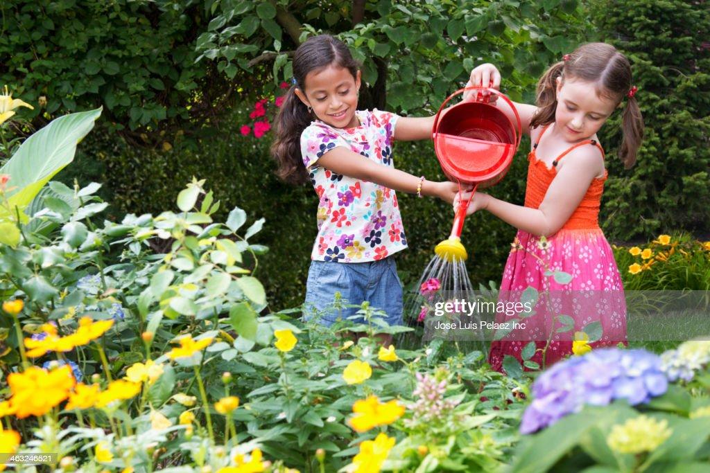 Girls watering flowers in backyard : Stock Photo