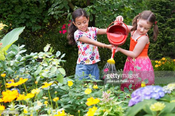 Girls watering flowers in backyard