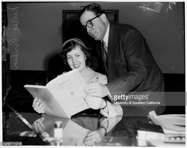Girls Week March 16 1954 Diane Lenehan 17 yearsMayor Norris PoulsonCaption slip reads 'Photographer Hecht Date Reporter Reay Assignment Girls Week...