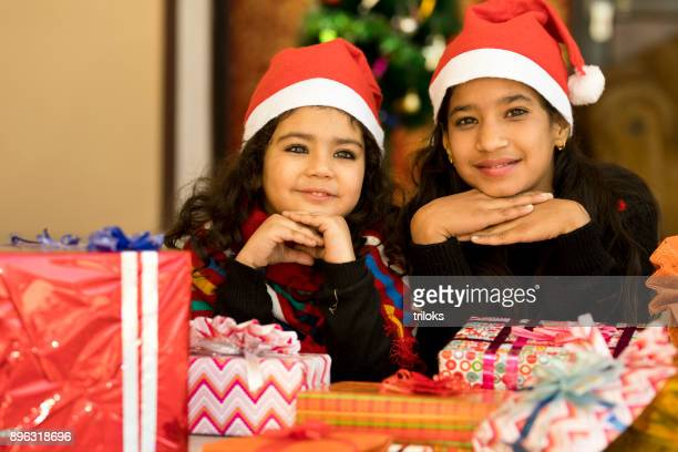 Girls with Christmas present
