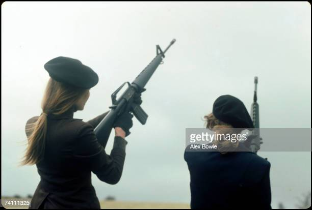 IRA girls with M16 rifles pose during a training and propaganda exercise in Northern Ireland 12th February 1977