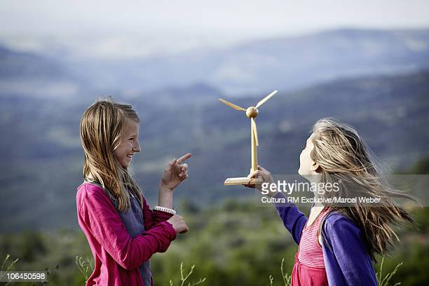 Girls with miniature windmill