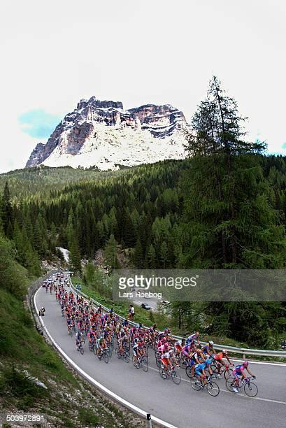 Giro dItalia stage 16 The peloton in the Dolomite Mountains