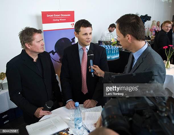 Giro d'Italia starting in Denmark 2012 Mayor Lars Krarup Herning Kommune intervied by reporter Dennis Ritter TV2 Sporten left Rolf Sørensen exrider ©...