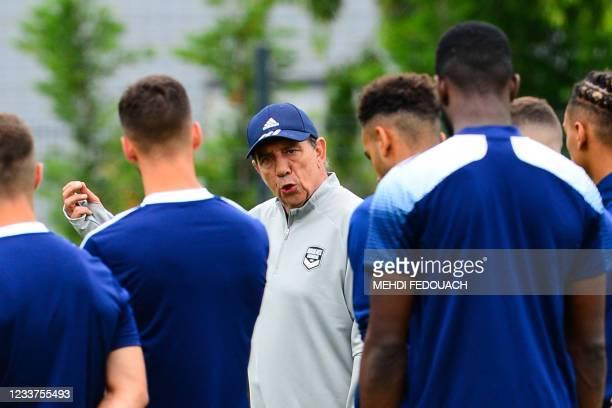Girodins de Bordeaux's French head-coach Jean-Louis Gasset leads a training session in Le Haillan, near Bordeaux, southwestern France, on July 1,...