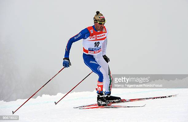 Girogio di Centa of Italy competes during the final climb men for the FIS Cross Country World Cup Tour de Ski on January 10 2010 in Val di Fiemme...