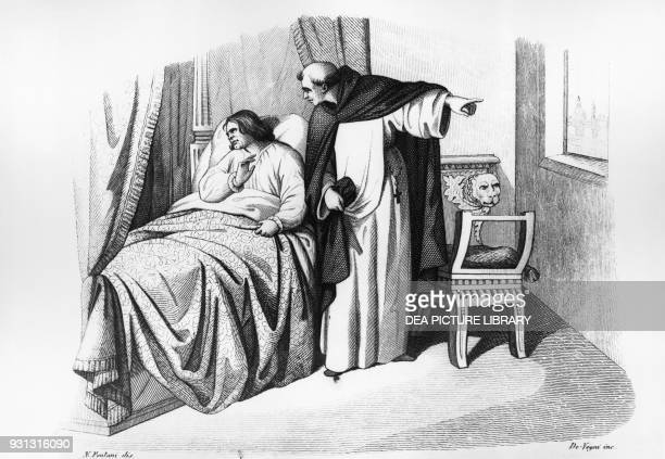 Girolamo Savonarola denying Lorenzo the Magnificent absolution Italy engraving from Cento rimembranze italiane by Florido Zamponi 1847