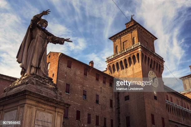 girolamo savonarola statue in ferrara - ferrara stock pictures, royalty-free photos & images
