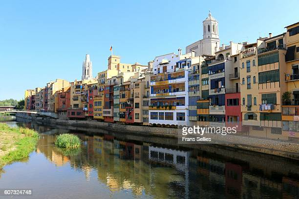 girona at the banks of the onyar river, catalonia, spain - girona stock photos and pictures