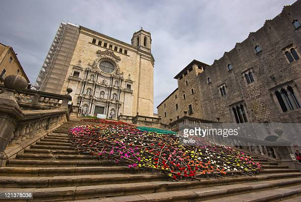 girona cathedral - gerona province stock photos and pictures