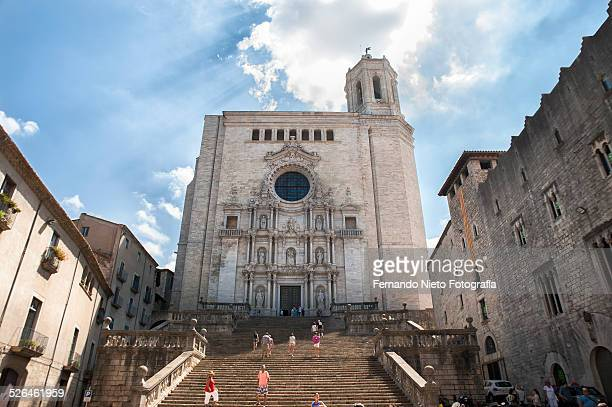 girona cathedral - girona stock photos and pictures