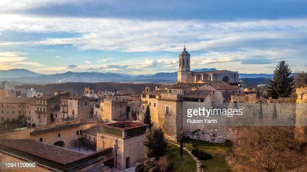 girona city view - gerona city stock pictures, royalty-free photos & images