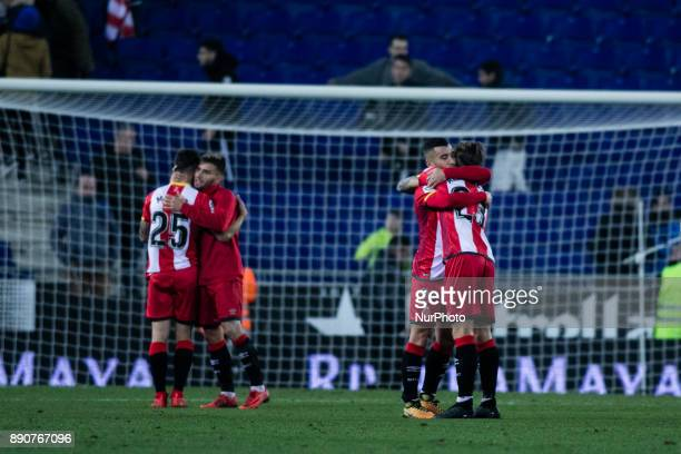 Girona FC players celebrating the victory during the La Liga match between RCD Espanyol v Girona FC at RCD Stadium on December 11 2017 in Barcelona...