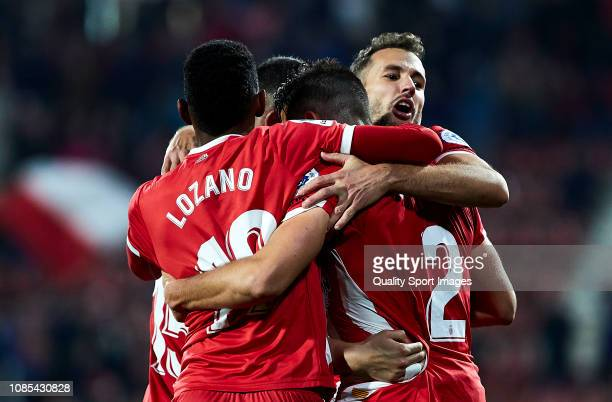Girona FC players celebrating their team's goal during the La Liga match between Girona FC and Getafe CF at Montilivi Stadium on December 21 2018 in...