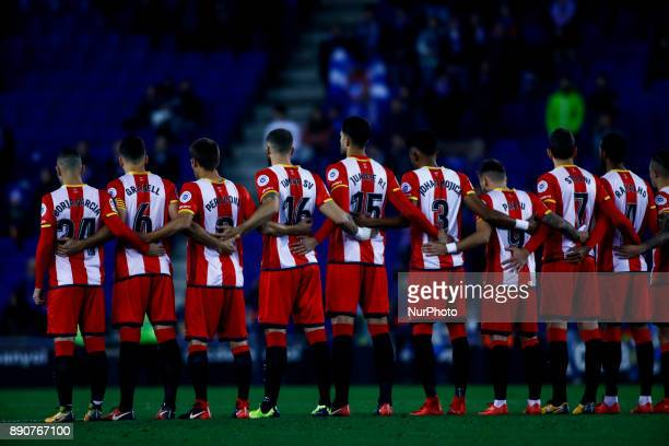 Girona FC team during the La Liga match between RCD Espanyol v Girona FC at RCD Stadium on December 11 2017 in Barcelona Spain