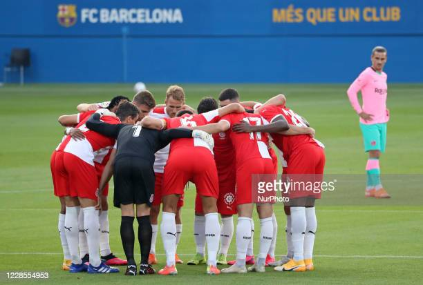 Girona players during the friendly match between FC Barcelona played at the Johan Cruyff Stadium on 16th September 2020 in Barcelona Spain