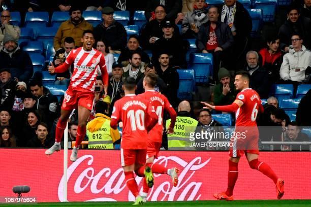 Girona's Honduran forward Anthony Lozano celebrates after scoring during the Spanish Copa del Rey quarterfinal first leg football match between Real...