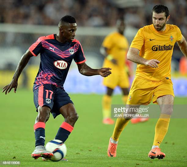 Girondin's Andre Poko controls the ball during the UEFA Europa League football match between Bordeaux and Kairat Almaty at the Nouveau Stade de...