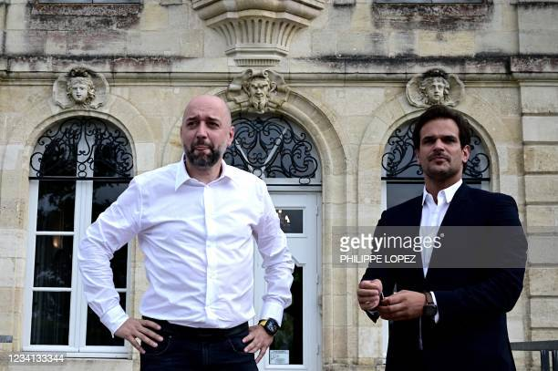 Girondins de Bordeaux football club's new president Gerard Lopez and sport director Admar Lopes stand together after a press conference at the club's...