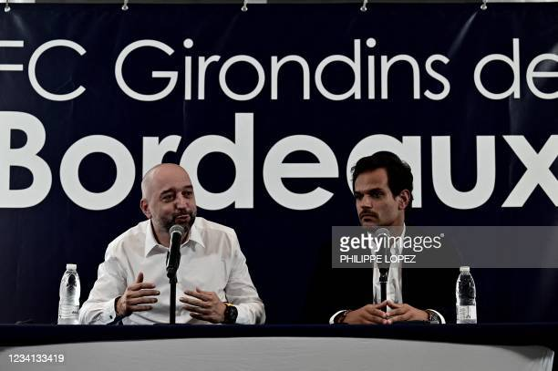 Girondins de Bordeaux football club's new president Gerard Lopez and sport director Admar Lopes hold a press conference at the club's training ground...