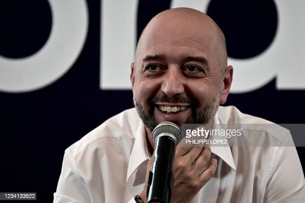 Girondins de Bordeaux football club's new president Gerard Lopez holds a press conference at the club's training ground in Le Haillan, near Bordeaux,...