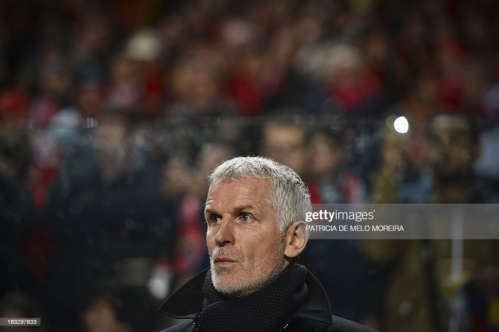 FC Girondins de Bordeaux's coach Francis Gillot looking on before the UEFA Europa League round of 16 first leg football match SL Benfica vs FC Girondins de Bordeaux at the Luz stadium in Lisbon on March 7, 2013.
