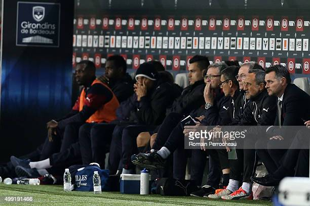 Girondins de Bordeaux's head coach Willy Sagnol looks on during the French Ligue 1 game between FC Girondins de Bordeaux and Stade Malherbe de Caen...