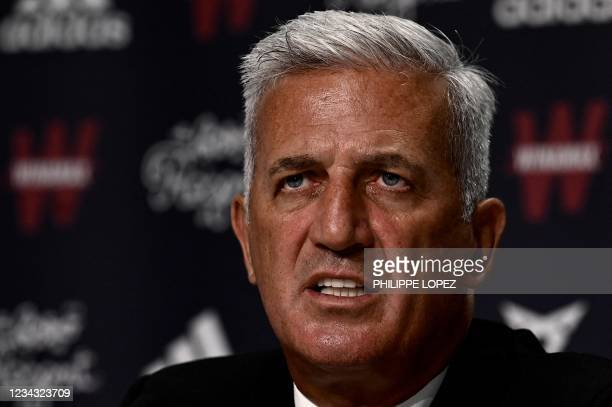 Girondins de Bordeaux's newly appointed Bosnian-Swiss headcoach Vladimir Petkovic addresses a press conference at the Matmut-Atlantique stadium in...