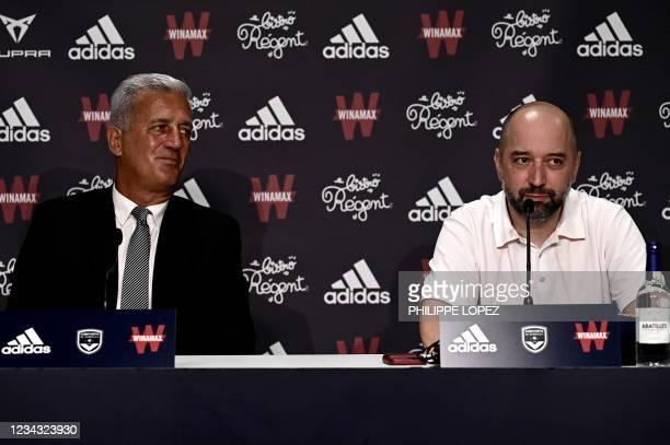 Girondins de Bordeaux's newly appointed Bosnian-Swiss headcoach Vladimir Petkovic and Girondins de Bordeaux's president Gerard Lopez address a press...