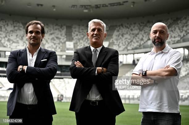 Girondins de Bordeaux's newly appointed Bosnian-Swiss headcoach Vladimir Petkovic , Girondins de Bordeaux's president Gerard Lopez and Girondins de...