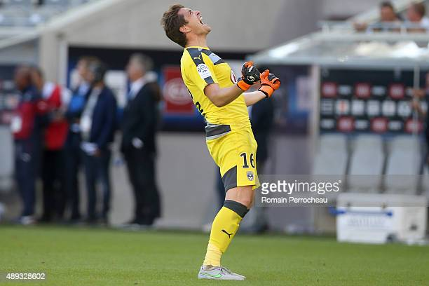 Girondins Goalkeeper Cedric Carrasso celebrates after the equalizing goal of his team during the French Ligue 1 game between FC Girondins de Bordeaux...