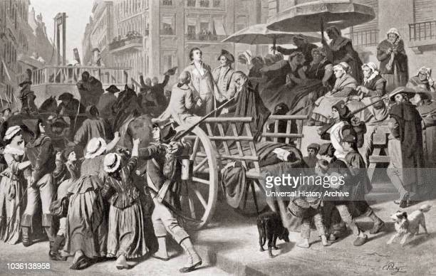 Girondists or Girondons being taken to the guillotine for execution during the French Revolution From Hutchinson's History of the Nations published...