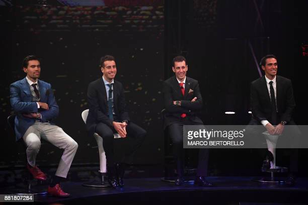 Giro's title holder Tom Dumoulin of Netherlands' Italy's Fabio Aru Italy's Vincenzo Nibali and Spain's Alberto Contador attend the presentation of...