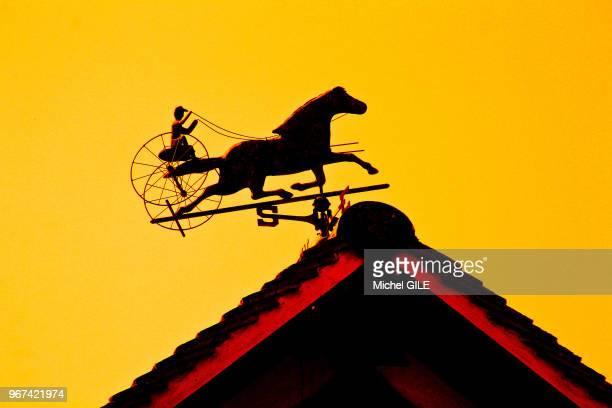 Girouette représentant un cheval de course et un jockey sur un toit Beuvron en Auge Calvados France