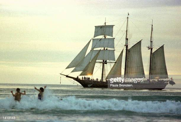 Gisborne''s official millennium dawn ceremony included tall ships along the beach and swimmers taking their first dip in the new year January 1 2000...