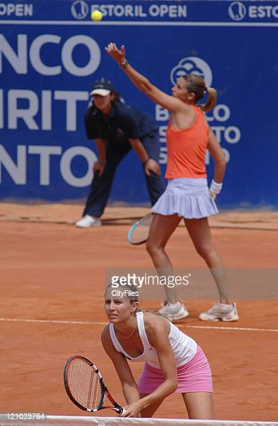 Gisela Dulko and Maria Sanchez Lorenzo during their match against Ting Li and Tiantian Sun in the finals of the Estoril Open at Estadio Nacional in...