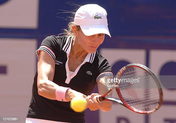 Gisela Dulko during the match against Julia schruff at the 2007 Estoril Open, Estoril, Portugal on May 1, 2007.