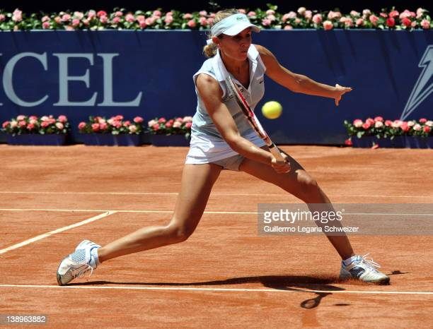 Gisela Dulko, from Argentina, hits the ball during a match against Katherin Woerle of Germany during the XX edition of WTA Bogota Open on February...