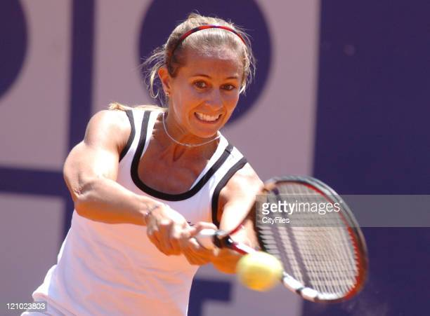 Gisela Dulko in action against Paola Suarez during their second round match in the 2006 Estoril Open in Estoril Portugal on May 3 2006