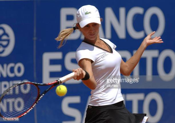 Gisela Dulko in action during at the Tennis Estoril Open 2007 in Estoril Portugal on May 3 2007