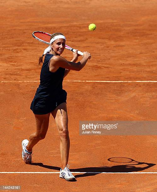 Gisela Dulko of Argentina in action in her match against Carla Suarez Navarro of Spain during day one of the Internazionali BNL d'Italia 2012 Tennis...