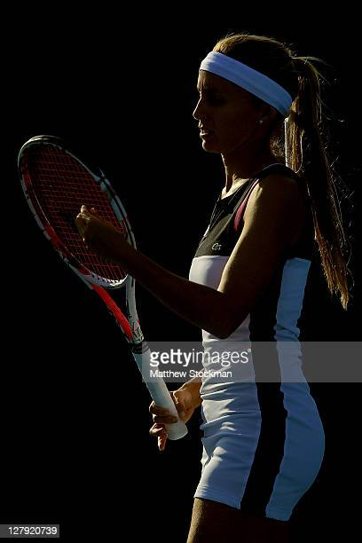 Gisela Dulko of Argentina plays Virginie Razzano of France during the China Open at the National Tennis Center on October 3, 2011 in Beijing, China.