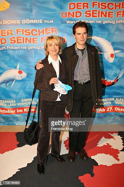 """Gisela Schneeberger With Her Son Philipp Müller At The Premiere Of """"The Fisherman And His Wife"""" In Mathäser cinema in Munich."""