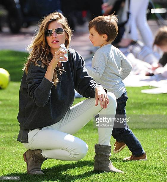 Gisele Bündchen and Benjamin Brady are seen in Battery Park City on May 4 2013 in New York City