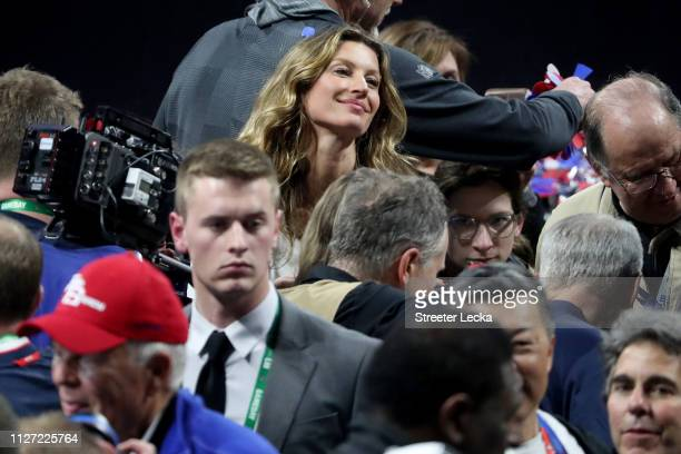 Gisele Bündchen celebrates New England Patriots 133 defeat over Los Angeles Rams during Super Bowl LIII at MercedesBenz Stadium on February 03 2019...