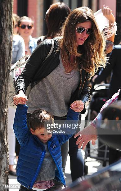 Gisele Bundchen and Benjamin Brady are seen in the West Village on April 14 2013 in New York City