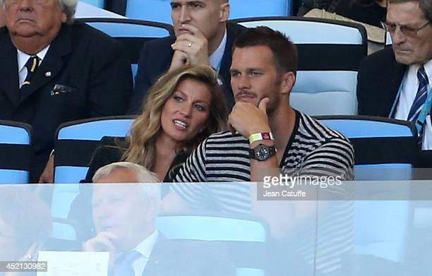 Gisele Bundchen and her husband Tom Brady attend the 2014 FIFA World Cup Brazil Final match between Germany and Argentina at Estadio Maracana on July...