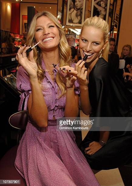 Gisele Bundchen and Karolina Kurkova during Victoria's Secret Launches Very Sexy Makeup In Store at Victoria's Secret Herald Square in New York City...