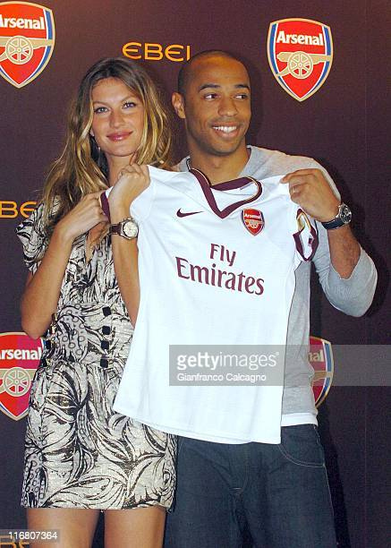 Gisele Bundchen and Thierry Henry during 'Arsenal Football Club' and 'Ebel' Launch Partnership Photocall June 19 2007 at The Hospital in London Great...